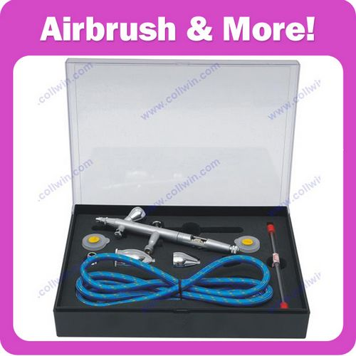 Double Action Airbrush kit With 3 Cups, Replacement Nozzle, Needle & Air Hose