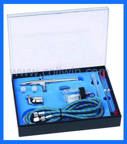 134K Dual Action Side Feed Airbrush Spray Gun Kit Complete Set 0.2mm 0.3mm 0.5mm
